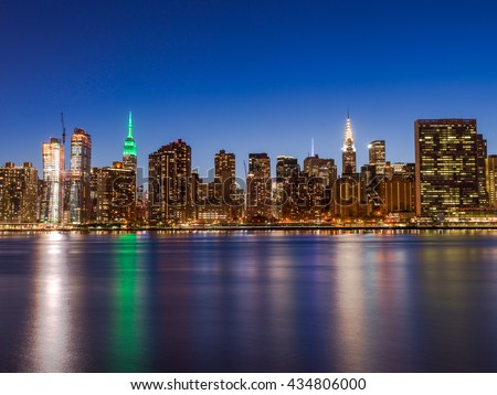New York City Manhattan buildings skyline evening
