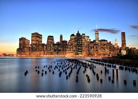 New York City Manhattan Downtown at dusk - stock photo