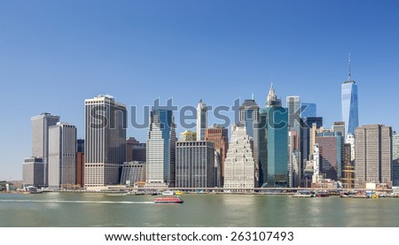 New York City Manhattan downtown buildings skyline