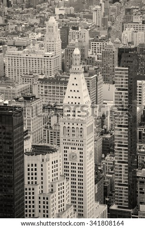 New York City Manhattan downtown historical skyscraper in black and white.  - stock photo