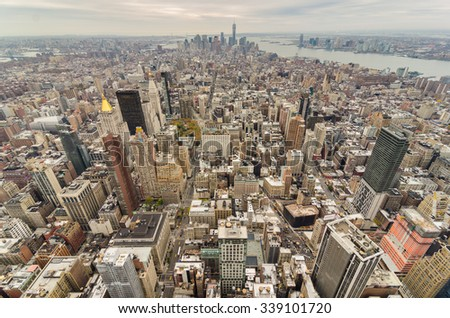 New York City Manhattan downtown on a cloudy day - stock photo