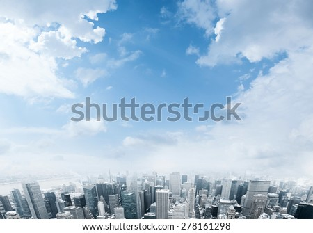 New York City Manhattan downtown view - stock photo