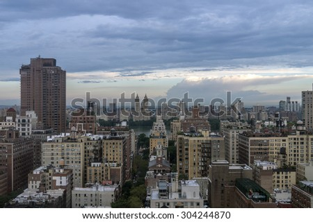 New York City Manhattan  early morning at sunrise - stock photo