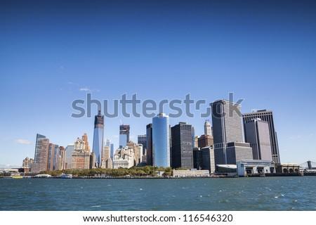 New York City - Manhattan from ferry - stock photo