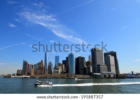 New York City, Manhattan looked from a ferry