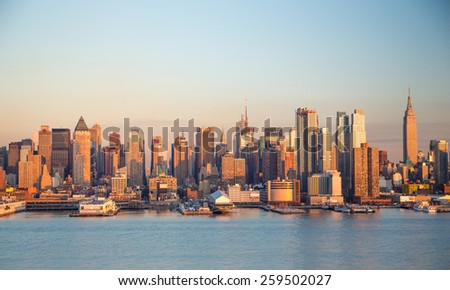 New York City Manhattan midtown buildings skyline evening sunset
