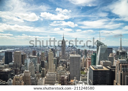 New York City Manhattan midtown buildings skyline view