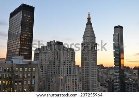 New York City Manhattan midtown view with skyscrapers, New York City, USA. - stock photo