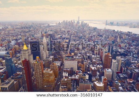 New York City Manhattan skyline aerial view at evening