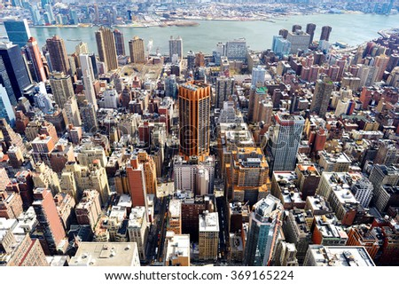 New York City Manhattan skyline aerial view at evening - stock photo