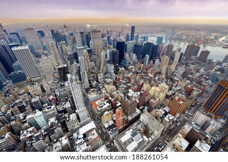 New York City Manhattan skyline aerial view in morning - stock photo