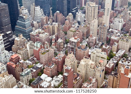 New York City Manhattan skyline aerial view with Empire State building on rainy day - stock photo