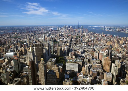 New York City Manhattan skyline aerial view with skyscrapers and Hudson. - stock photo