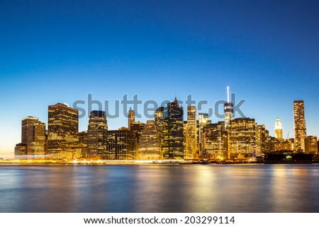 New York City Manhattan skyline at dusk from Brooklyn - stock photo