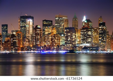 New York City Manhattan skyline over Hudson River - stock photo