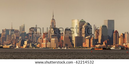 New York City Manhattan skyline panorama with Empire State Building over Hudson River