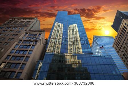 New York City Manhattan Skyline, U.S.A. colorful sunset - stock photo