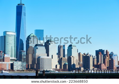 New York City Manhattan skyline with One World Trade Center Tower (AKA Freedom Tower) over Hudson River viewed from New Jersey