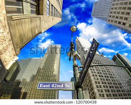 New York City - Manhattan Skyscrapers and Street Signs, U.S.A. - stock photo