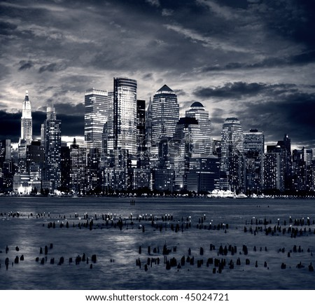 New York city manhattan taken from jersey side - hoboken - stock photo