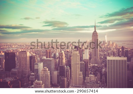 New York City, Manhattan with vintage tone filter - stock photo