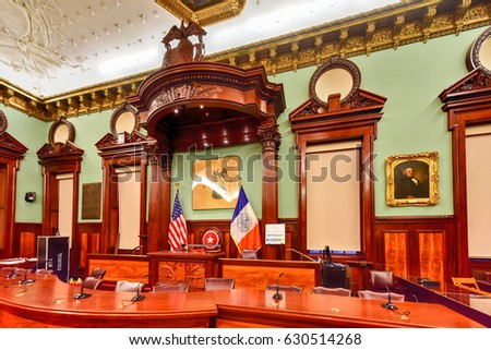 New York City - Mar 29 2017: The New York City Council in New York City Hall, the seat of NYC government, located at the center of City Hall Park in the Civic Center area of Lower Manhattan.