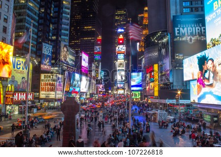 NEW YORK CITY - MAR 6: Times Square, featured with Broadway Theaters and animated LED signs, is a symbol of New York City and the United States, March 6th, 2011 in Manhattan, New York City - stock photo