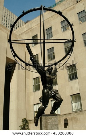 New York City - March 30, 2005:  Atlas Holding the World sculpture in front of the International Building at 50 Rockefeller Center - stock photo