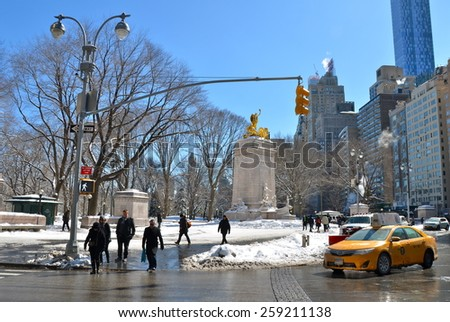 NEW YORK CITY - MARCH 6, 2015: Columbus Circle, New York City, USA  - stock photo