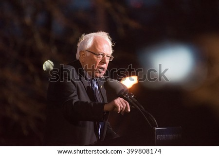 NEW YORK CITY - MARCH 31 2016: Democratic presidential candidate Bernie Sanders appeared before thousands of supporters at St Mary's Park, The Bronx - stock photo