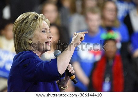 NEW YORK CITY - MARCH 2 2016: Hillary Clinton affirmed her status as front-runner for the Democratic presidential nominations with a speech at Jacob Javits Center - stock photo
