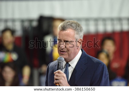 NEW YORK CITY - MARCH 2 2016: Hillary Clinton affirmed her status as front-runner for the Democratic presidential nominations with a speech at Jacob Javits Center. NYC mayor Bill de Blasio.