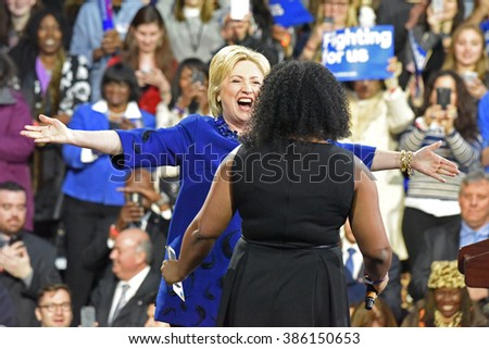 NEW YORK CITY - MARCH 2 2016: Hillary Clinton affirmed her status as front-runner for the Democratic presidential nominations with a speech at Jacob Javits Center. Candidate greets Alicia Williams