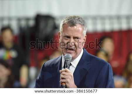 NEW YORK CITY - MARCH 2 2016: Hillary Clinton affirmed her status as front-runner for the Democratic presidential nominations with a speech at Jacob Javits Center. NYC mayor Bill de Blasio