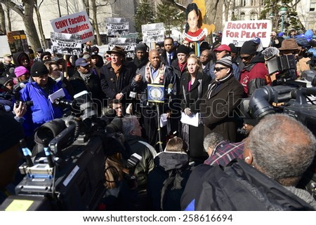 "NEW YORK CITY - MARCH 7 2015: hundreds followed Brooklyn borough president Eric Adams in a march across the Brooklyn Bridge to mark the 50th anniversary of the ""Bloody Sunday"" march in Selma, AL"
