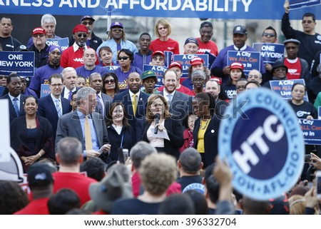NEW YORK CITY - MARCH 23 2016: Mayor de Blasio, Chirlane McCray, Melissa Mark-Viverito & HUD director Julian Castro highlighted a rally in Foley Square. Melissa Mark-Viverito addresses rally.
