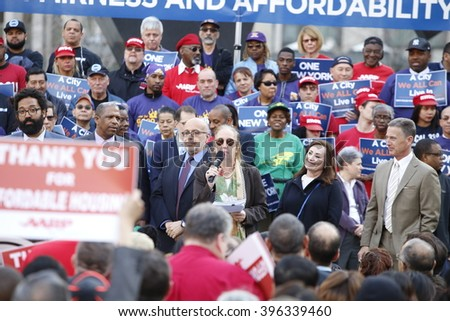 NEW YORK CITY - MARCH 23 2016: Mayor de Blasio, Chirlane McCray, Melissa Mark-Viverito & HUD director Julian Castro highlighted a rally in Foley Square. Manhattan borough President Gale Brewer