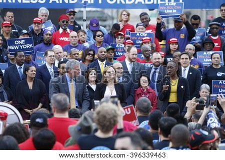 NEW YORK CITY - MARCH 23 2016: Mayor de Blasio, Chirlane McCray, Melissa Mark-Viverito & HUD director Julian Castro highlighted a rally in Foley Square. Manhattan borough president Gale Brewer speaks