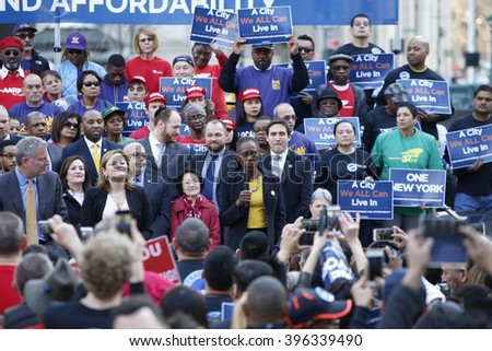 NEW YORK CITY - MARCH 23 2016: Mayor de Blasio, Chirlane McCray, Melissa Mark-Viverito & HUD director Julian Castro highlighted a rally in Foley Square. NYC first lady Chirlane McCray addresses rally