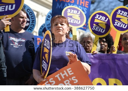 NEW YORK CITY - MARCH 9 2016: NYC mayor de Blasio rallied on the city hall steps with union and AARP members to urge passage of his affordable housing initiative,