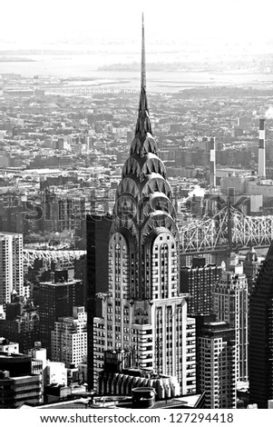 NEW YORK CITY - MARCH 24: The Chrysler building was the world's tallest building (319 m) before it was surpassed by the Empire State Building in 1931, on March 24, 2012 in Manhattan, New York City. - stock photo