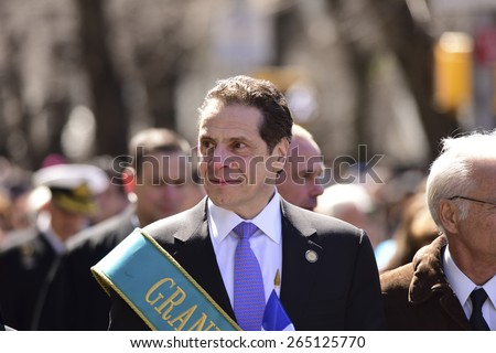 NEW YORK CITY - MARCH 29 2015: the 84th annual Greek Independence Day parade took place on 5th Avenue marking the 194th year of Greek independence from the Ottoman Empire. NY governor Andrew Cuomo