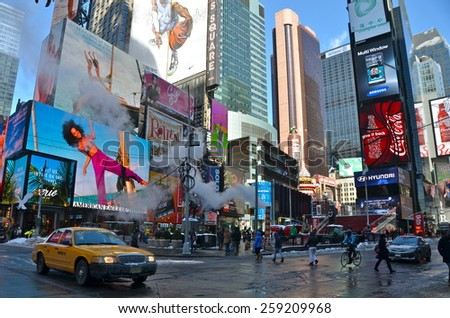New York City - March 6, 2015: Times Square, Manhattan, New York City, USA. - stock photo