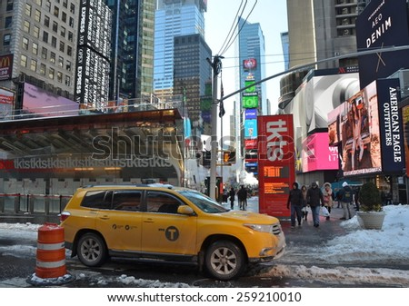 New York City - March 6, 2015: Times Square, Manhattan, New York City, USA. - stock photo