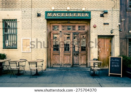 NEW YORK CITY - MARCH 13, 2015: Tourism point of interest location in NYC of view of quaint restaurant in historic Meatpacking District in Manhattan. - stock photo