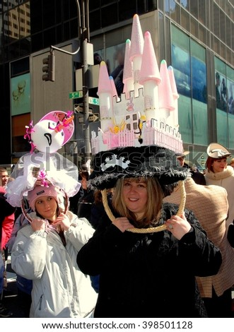 New York City - March 24, 2007:  Two women sporting original Easter bonnets at the Fifth Avenue Easter Parade