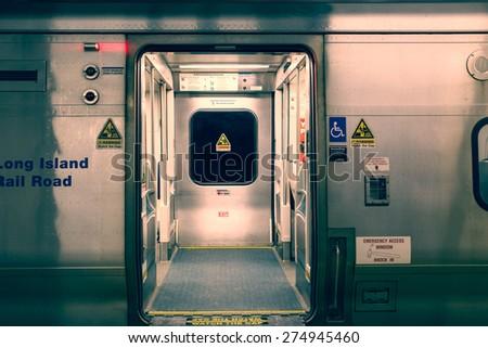 NEW YORK CITY - MARCH 13, 2015:  View of empty Long Island Railroad train car at Manhattan Pennsylvania Station.  - stock photo