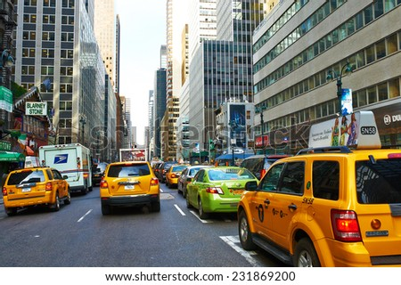 NEW YORK CITY - MARCH 28: Yellow taxi at street,  March 28 2014 in New York, USA