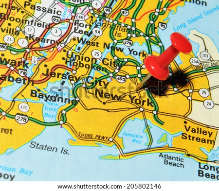 New York City Marked Red Pushpin Stock Photo Shutterstock - New york city on us map