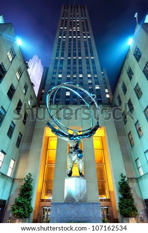 NEW YORK CITY - MAY 12: Atlas statue at Rockefeller Center May 12, 2012 in New York, NY. The statue was built by Lee Lawrie in 1937 and is the largest statue at the Rockefeller complex. - stock photo